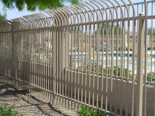 8ft Tall Tan Steel Commercial Security Fence